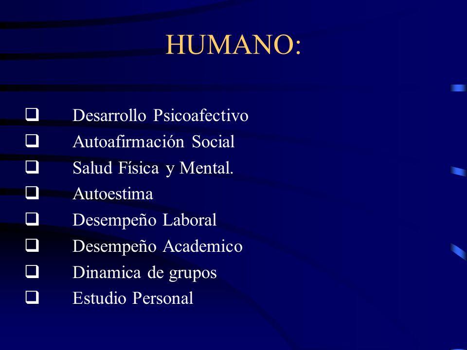 HUMANO: Desarrollo Psicoafectivo Autoafirmación Social Salud Física y Mental.