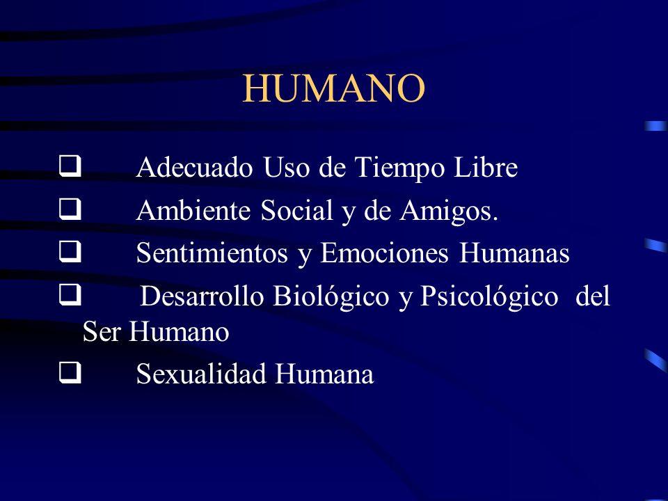 HUMANO Adecuado Uso de Tiempo Libre Ambiente Social y de Amigos.