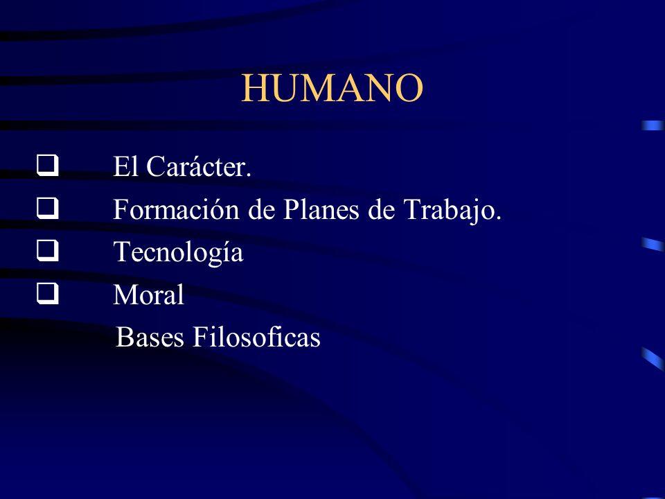 HUMANO El Carácter. Formación de Planes de Trabajo. Tecnología Moral Bases Filosoficas