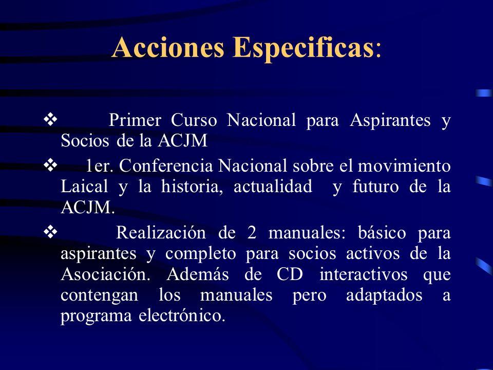 Acciones Especificas: Primer Curso Nacional para Aspirantes y Socios de la ACJM 1er.