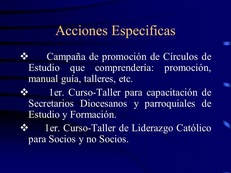 Acciones Especificas Campaña de promoción de Círculos de Estudio que comprendería: promoción, manual guía, talleres, etc.