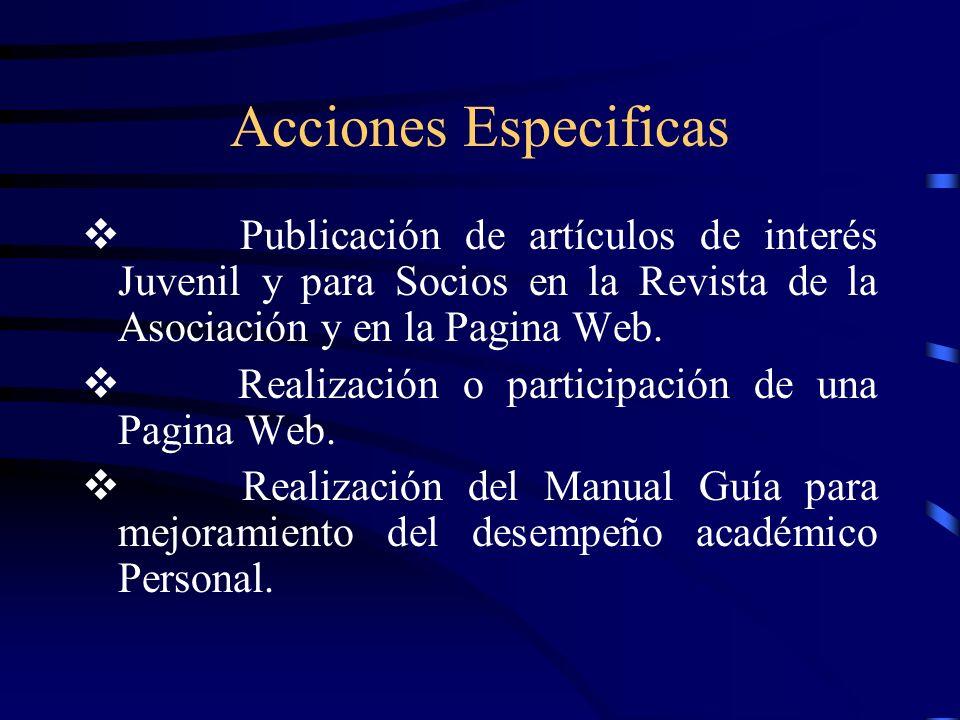Acciones Especificas Publicación de artículos de interés Juvenil y para Socios en la Revista de la Asociación y en la Pagina Web.
