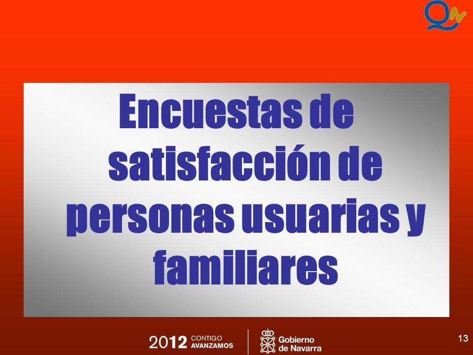 13 Encuestas de satisfacción de personas usuarias y familiares