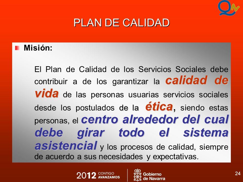 24 PLAN DE CALIDAD Misión: calidad de vida de la ética centro alrededor del cual debe girar todo el sistema asistencial El Plan de Calidad de los Serv