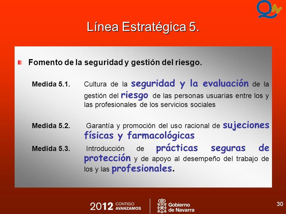 30 Línea Estratégica 5. Fomento de la seguridad y gestión del riesgo. Medida 5.1.Cultura de la seguridad y la evaluación de la gestión del riesgo de l