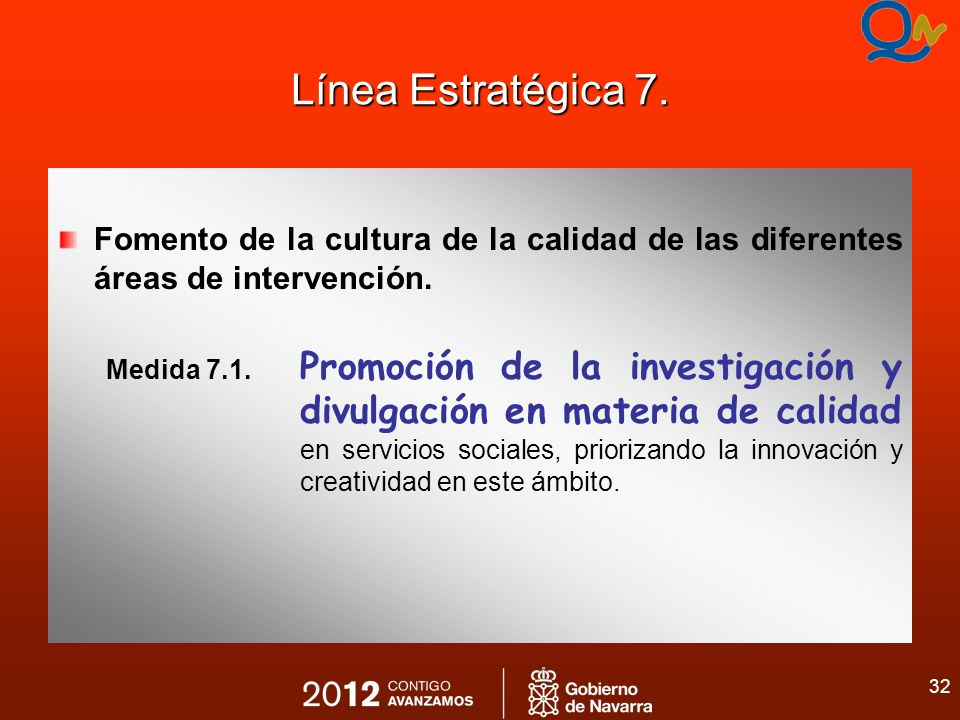 32 Línea Estratégica 7. Fomento de la cultura de la calidad de las diferentes áreas de intervención. Medida 7.1. Promoción de la investigación y divul