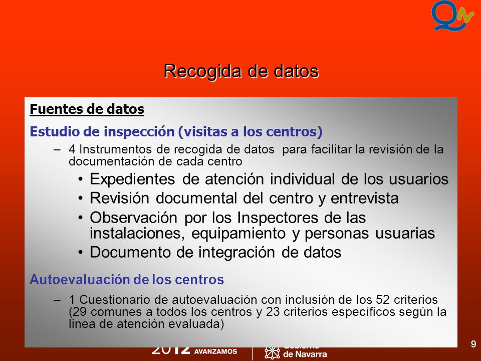 9 Recogida de datos Fuentes de datos Estudio de inspección (visitas a los centros) –4 Instrumentos de recogida de datos para facilitar la revisión de