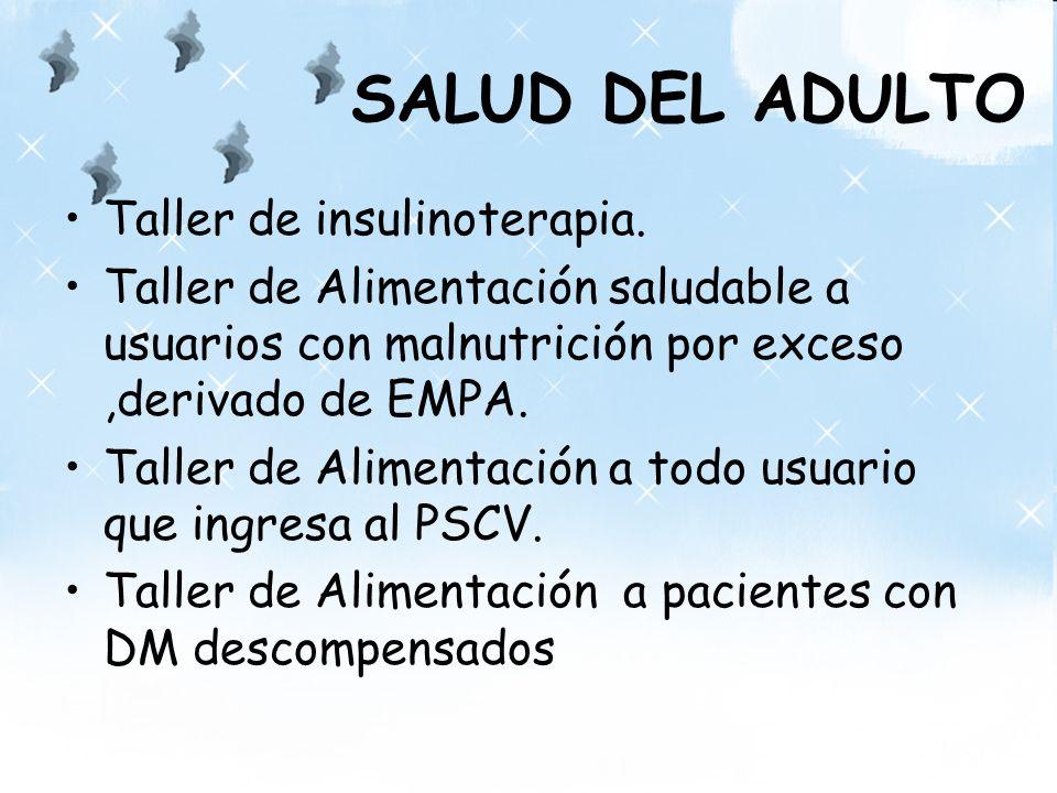 SALUD DEL ADULTO Taller de insulinoterapia. Taller de Alimentación saludable a usuarios con malnutrición por exceso,derivado de EMPA. Taller de Alimen