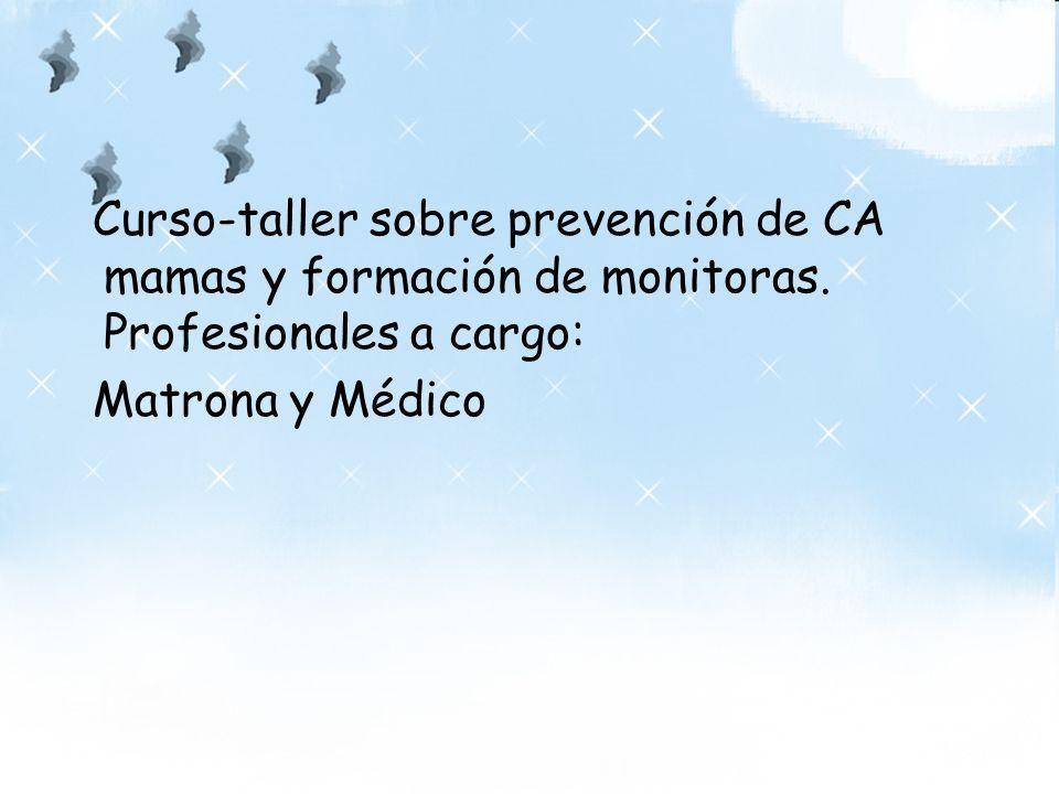 Curso-taller sobre prevención de CA mamas y formación de monitoras. Profesionales a cargo: Matrona y Médico
