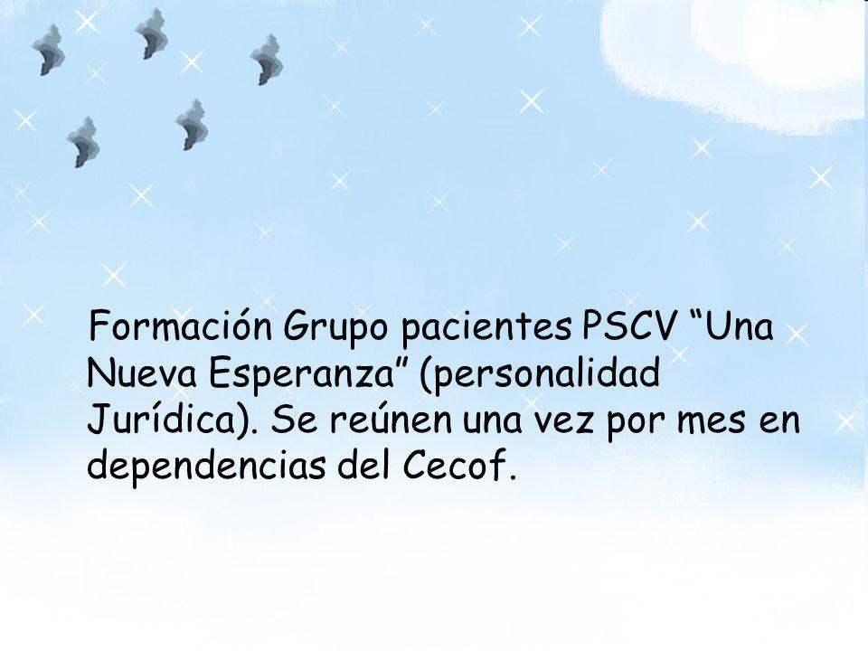 Formación Grupo pacientes PSCV Una Nueva Esperanza (personalidad Jurídica). Se reúnen una vez por mes en dependencias del Cecof.