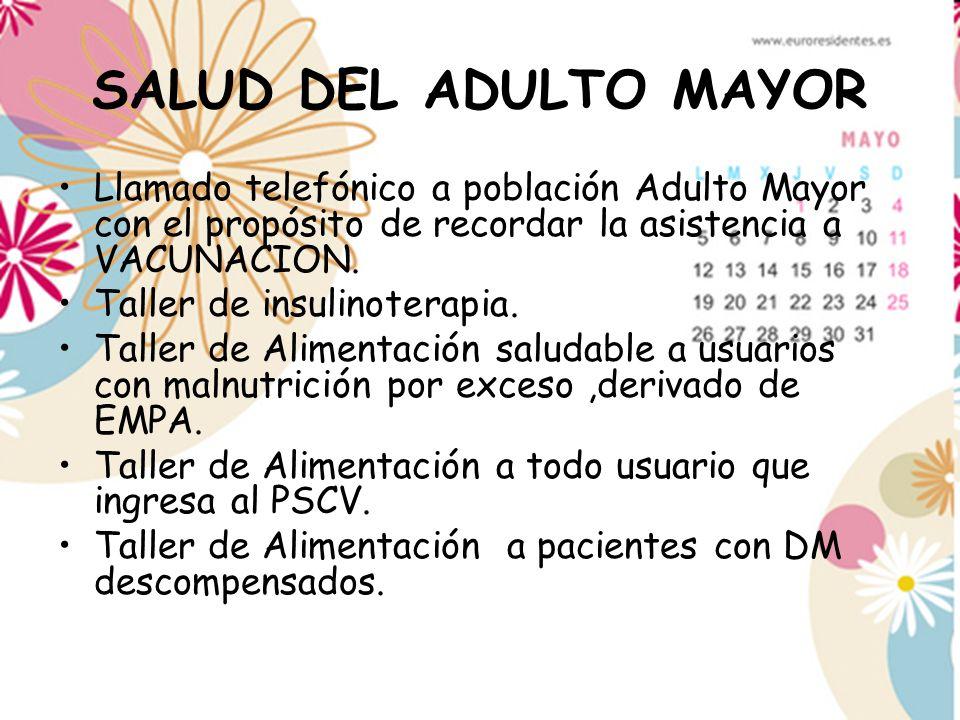 SALUD DEL ADULTO MAYOR Llamado telefónico a población Adulto Mayor con el propósito de recordar la asistencia a VACUNACION. Taller de insulinoterapia.