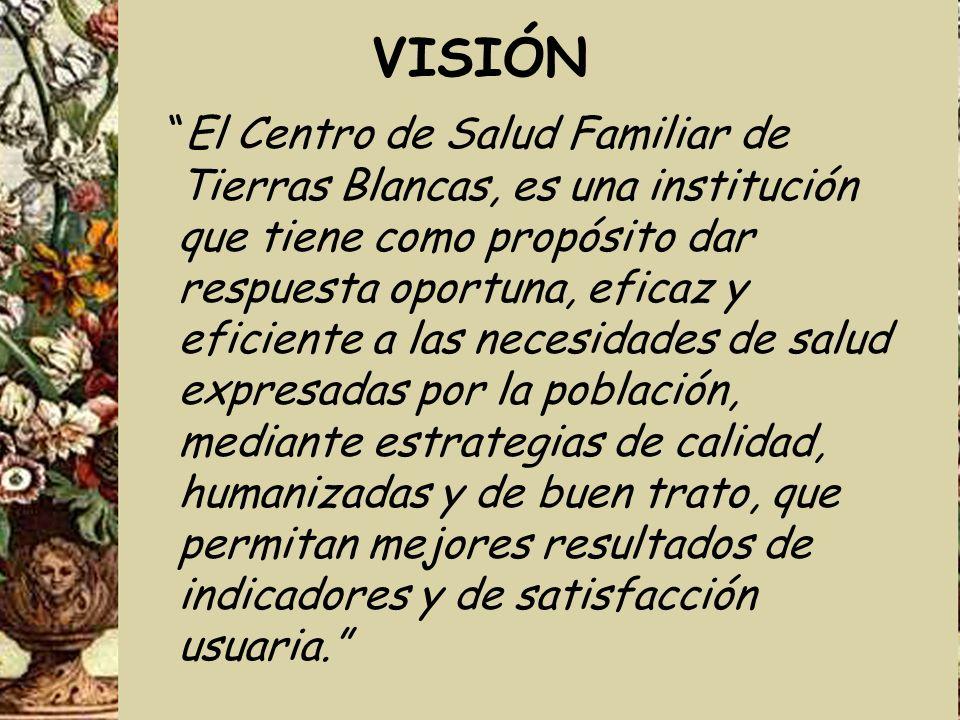 VISIÓN El Centro de Salud Familiar de Tierras Blancas, es una institución que tiene como propósito dar respuesta oportuna, eficaz y eficiente a las ne