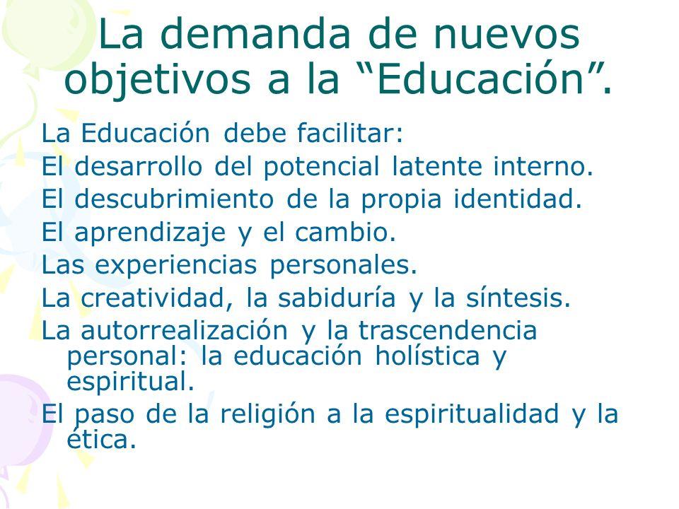 La demanda de nuevos objetivos a la Educación. La Educación debe facilitar: El desarrollo del potencial latente interno. El descubrimiento de la propi