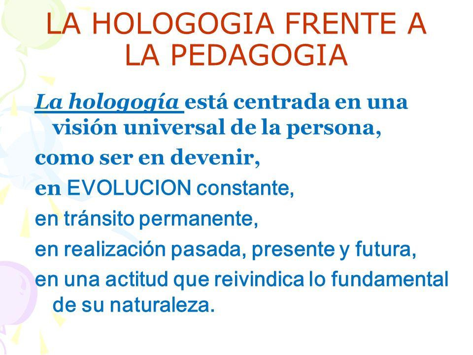 LA HOLOGOGIA FRENTE A LA PEDAGOGIA La hologogía está centrada en una visión universal de la persona, como ser en devenir, en EVOLUCION constante, en tránsito permanente, en realización pasada, presente y futura, en una actitud que reivindica lo fundamental de su naturaleza.