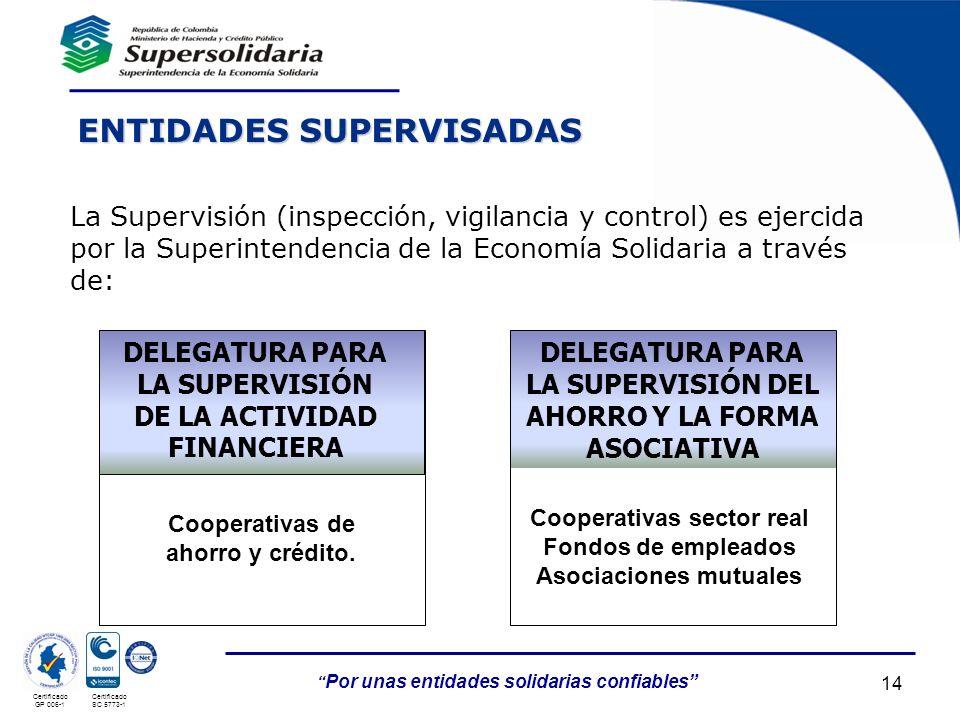 05/05/201414 Por unas entidades solidarias confiables Certificado GP 006-1 Certificado SC 5773-1 ENTIDADES SUPERVISADAS La Supervisión (inspección, vi