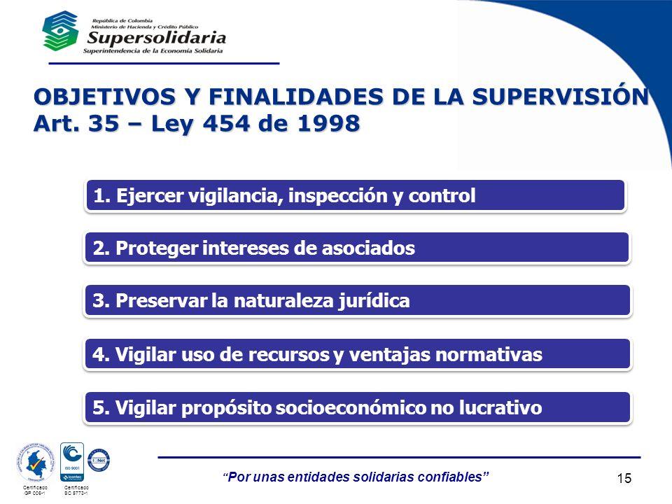 05/05/201415 Por unas entidades solidarias confiables Certificado GP 006-1 Certificado SC 5773-1 OBJETIVOS Y FINALIDADES DE LA SUPERVISIÓN Art. 35 – L