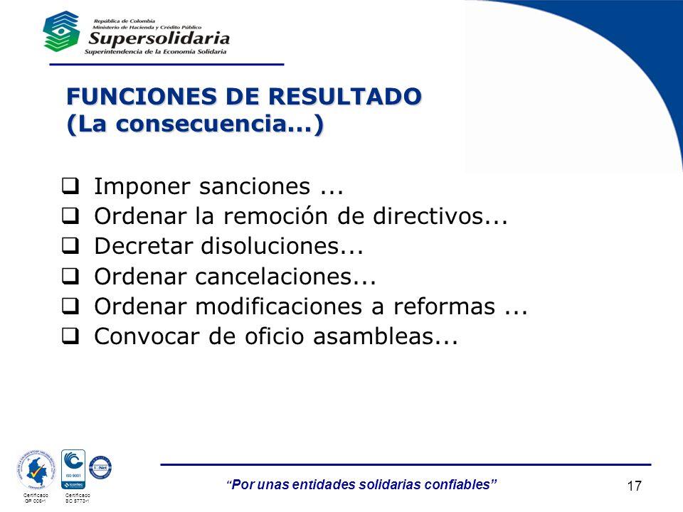 05/05/201417 Por unas entidades solidarias confiables Certificado GP 006-1 Certificado SC 5773-1 FUNCIONES DE RESULTADO (La consecuencia...) Imponer s