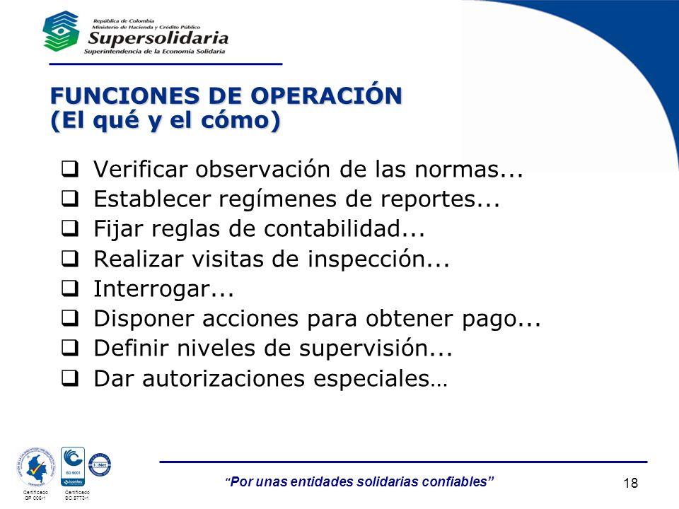 05/05/201418 Por unas entidades solidarias confiables Certificado GP 006-1 Certificado SC 5773-1 FUNCIONES DE OPERACIÓN (El qué y el cómo) Verificar o
