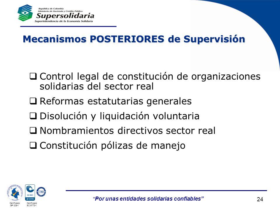 05/05/201424 Por unas entidades solidarias confiables Certificado GP 006-1 Certificado SC 5773-1 Mecanismos POSTERIORES de Supervisión Control legal d