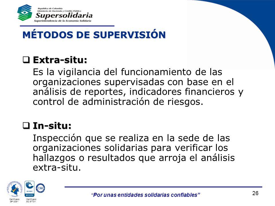 Por unas entidades solidarias confiables Certificado GP 006-1 Certificado SC 5773-1 Extra-situ: Extra-situ: Es la vigilancia del funcionamiento de las