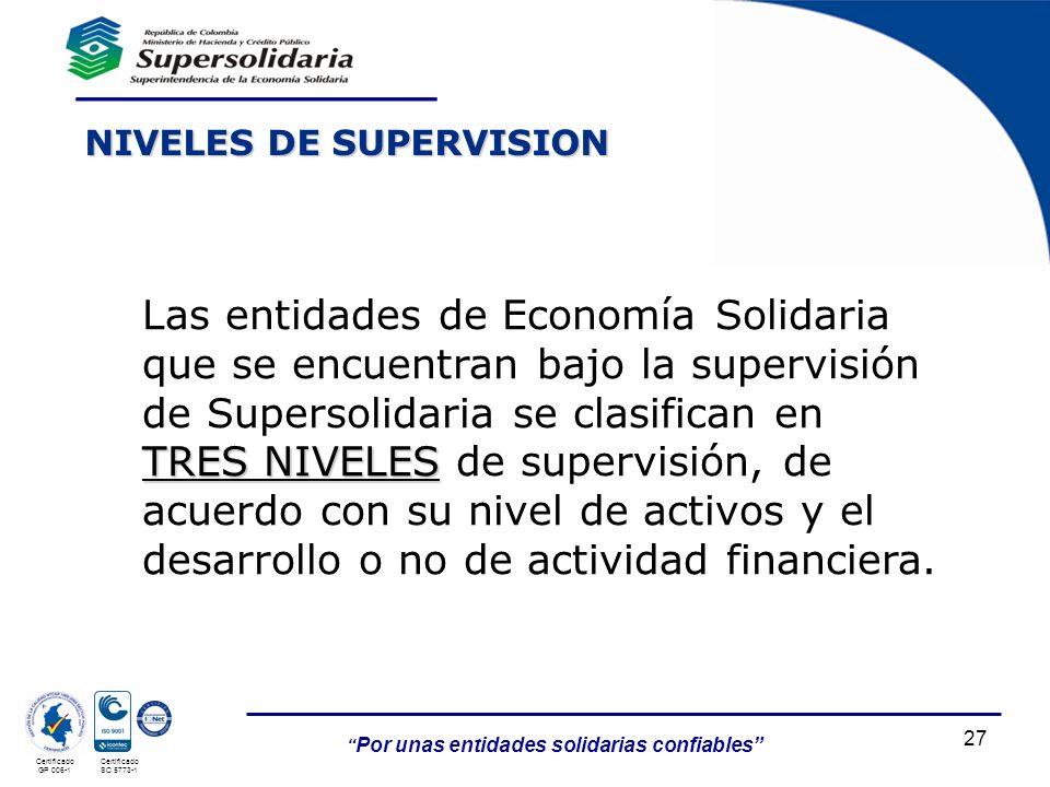 27 Por unas entidades solidarias confiables Certificado GP 006-1 Certificado SC 5773-1 NIVELES DE SUPERVISION TRES NIVELES Las entidades de Economía S