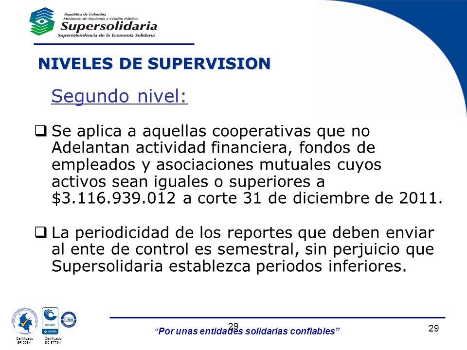 Por unas entidades solidarias confiables 29 Certificado GP 006-1 Certificado SC 5773-1 29 Se aplica a aquellas cooperativas que no Adelantan actividad