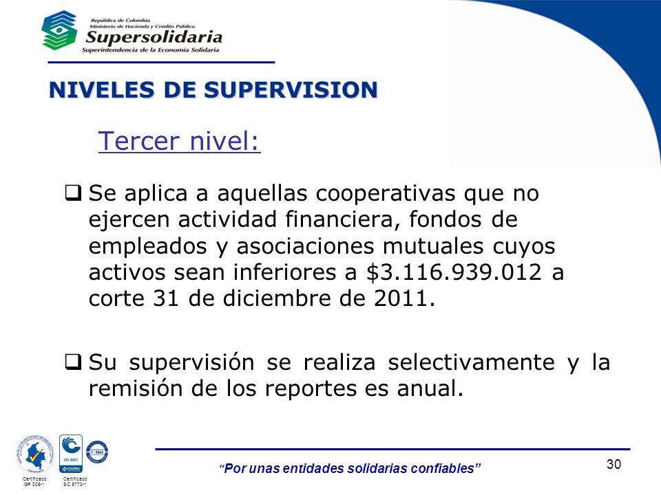 Por unas entidades solidarias confiables 30 Certificado GP 006-1 Certificado SC 5773-1 Se aplica a aquellas cooperativas que no ejercen actividad fina