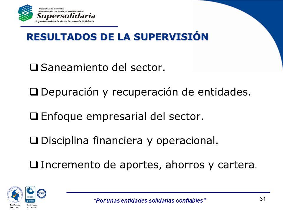 Por unas entidades solidarias confiables Certificado GP 006-1 Certificado SC 5773-1 RESULTADOS DE LA SUPERVISIÓN 31 Saneamiento del sector. Depuración