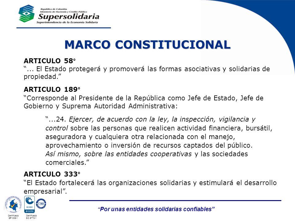 Por unas entidades solidarias confiables Certificado Nº GP 006 - 1Certificado Nº SC 3306- 1 Certificado GP 006-1 Certificado SC 5773-1 ARTICULO 58°...