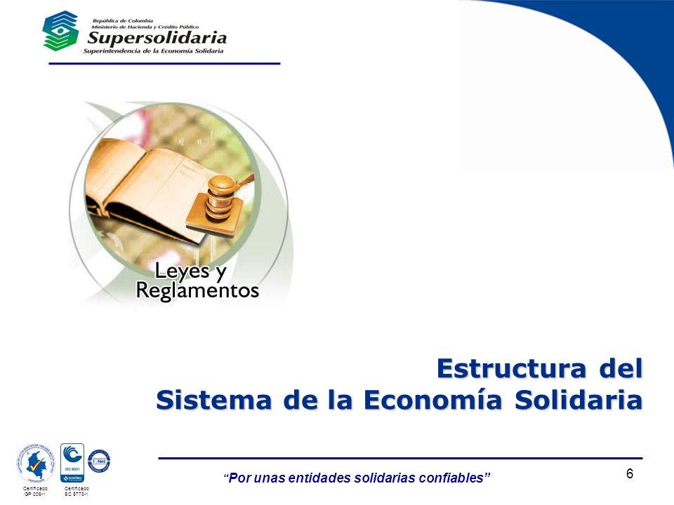 Por unas entidades solidarias confiables Certificado GP 006-1 Certificado SC 5773-1 6 Estructura del Sistema de la Economía Solidaria