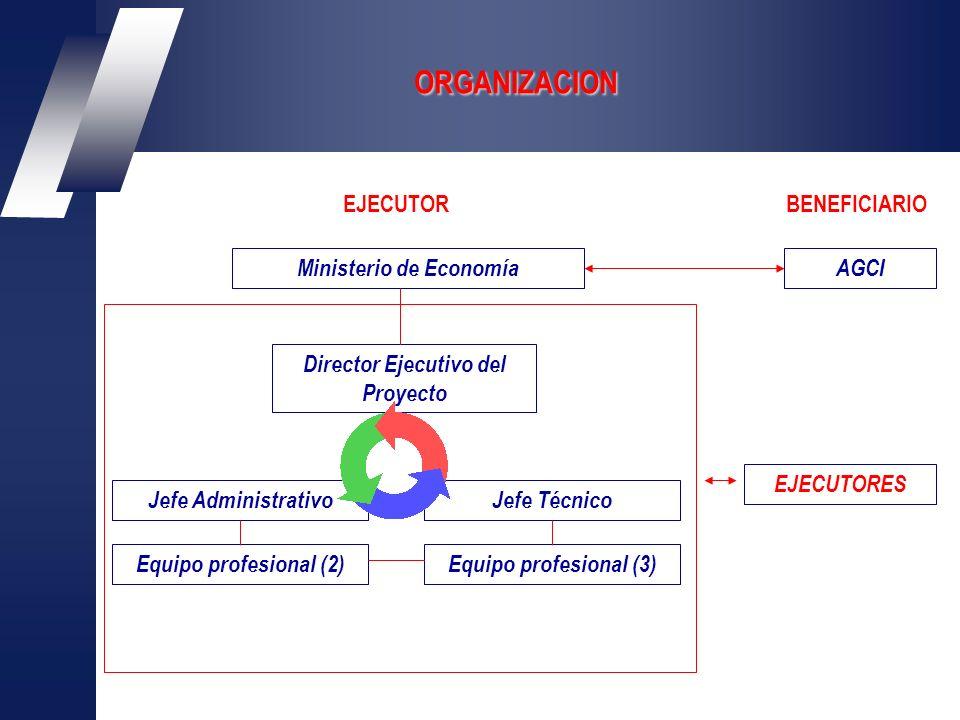 ORGANIZACION Ministerio de EconomíaAGCI Director Ejecutivo del Proyecto Jefe AdministrativoJefe Técnico Equipo profesional (3) BENEFICIARIOEJECUTOR EJECUTORES Equipo profesional (2)