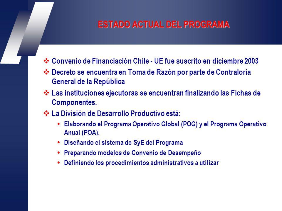 ESTADO ACTUAL DEL PROGRAMA Convenio de Financiación Chile - UE fue suscrito en diciembre 2003 Decreto se encuentra en Toma de Razón por parte de Contraloría General de la República Las instituciones ejecutoras se encuentran finalizando las Fichas de Componentes.