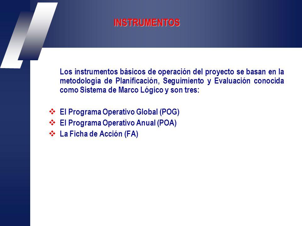 INSTRUMENTOS Los instrumentos básicos de operación del proyecto se basan en la metodología de Planificación, Seguimiento y Evaluación conocida como Sistema de Marco Lógico y son tres: El Programa Operativo Global (POG) El Programa Operativo Anual (POA) La Ficha de Acción (FA)