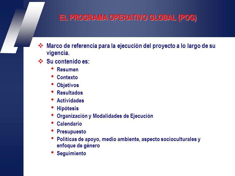EL PROGRAMA OPERATIVO GLOBAL (POG) Marco de referencia para la ejecución del proyecto a lo largo de su vigencia.