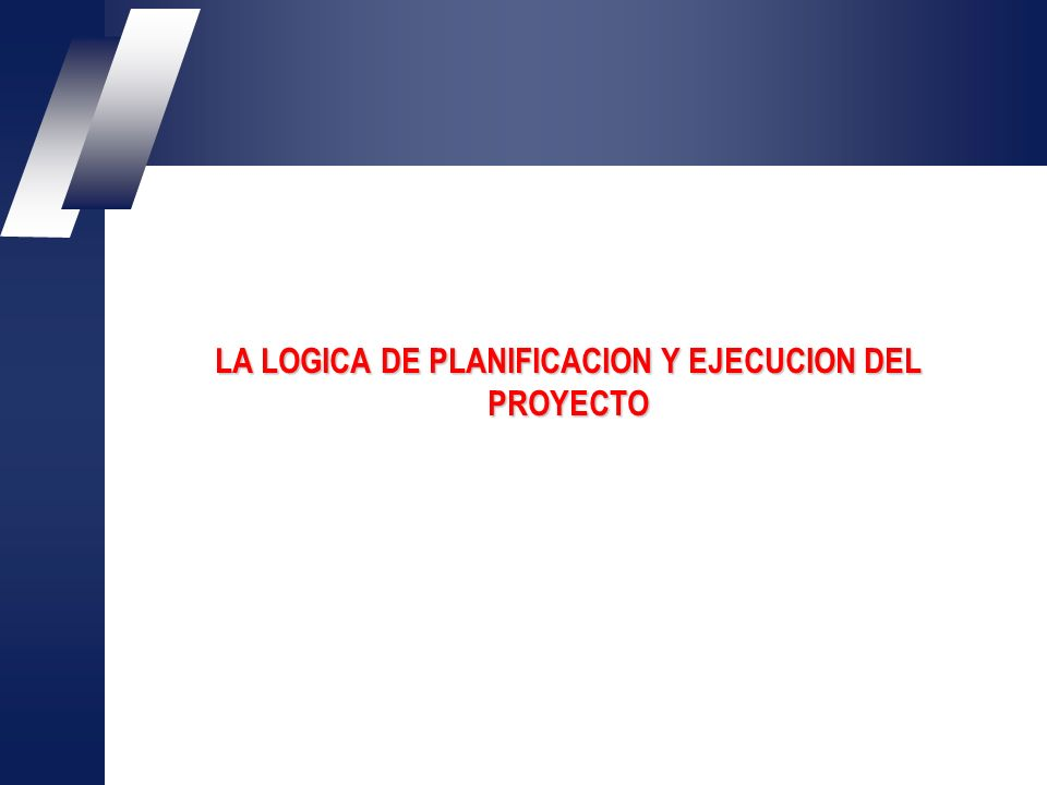 LA LOGICA DE PLANIFICACION Y EJECUCION DEL PROYECTO