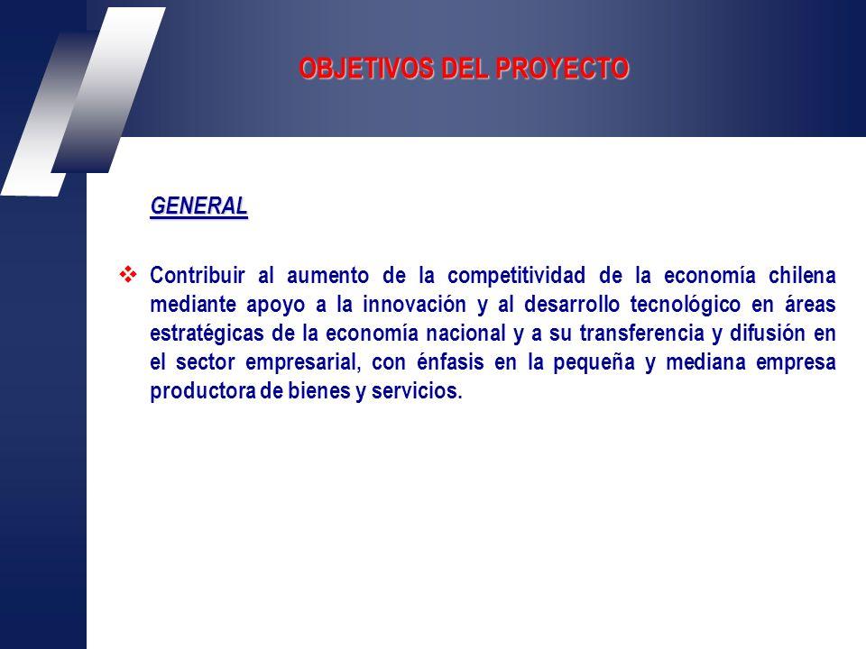 OBJETIVOS DEL PROYECTO GENERAL Contribuir al aumento de la competitividad de la economía chilena mediante apoyo a la innovación y al desarrollo tecnológico en áreas estratégicas de la economía nacional y a su transferencia y difusión en el sector empresarial, con énfasis en la pequeña y mediana empresa productora de bienes y servicios.