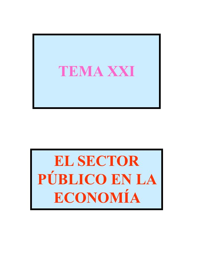 TEMA XXI EL SECTOR PÚBLICO EN LA ECONOMÍA