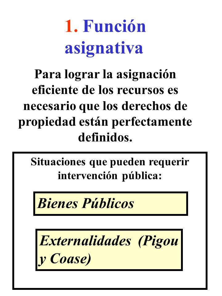 1. Función asignativa Situaciones que pueden requerir intervención pública: Bienes Públicos Externalidades (Pigou y Coase) Para lograr la asignación e