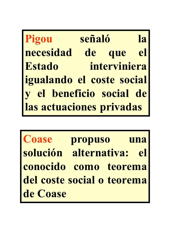Pigou señaló la necesidad de que el Estado interviniera igualando el coste social y el beneficio social de las actuaciones privadas Coase propuso una