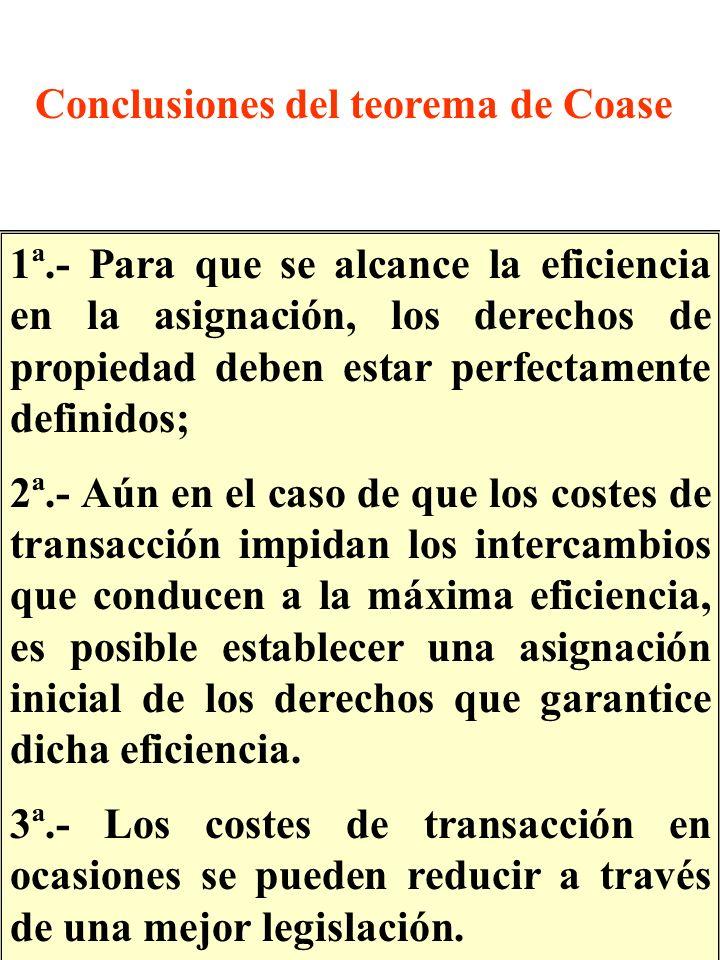 1ª.- Para que se alcance la eficiencia en la asignación, los derechos de propiedad deben estar perfectamente definidos; 2ª.- Aún en el caso de que los