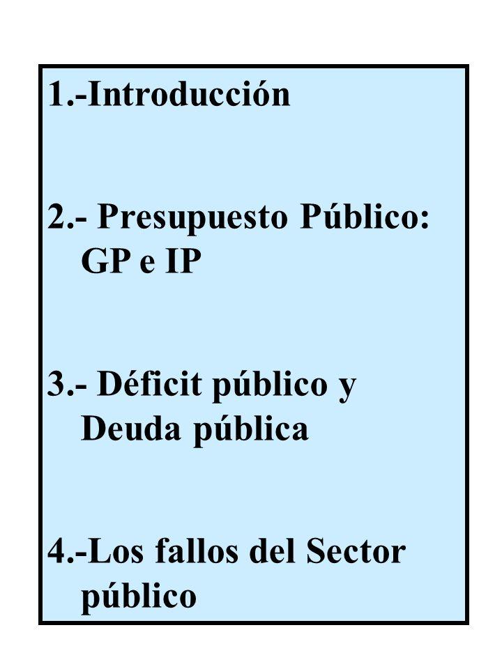 1.-Introducción 2.- Presupuesto Público: GP e IP 3.- Déficit público y Deuda pública 4.-Los fallos del Sector público