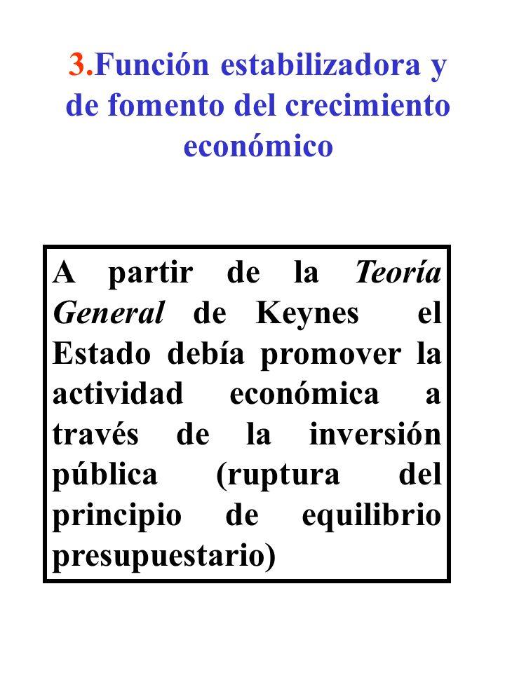 3.Función estabilizadora y de fomento del crecimiento económico A partir de la Teoría General de Keynes el Estado debía promover la actividad económic