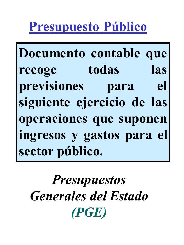 Presupuesto Público Documento contable que recoge todas las previsiones para el siguiente ejercicio de las operaciones que suponen ingresos y gastos p