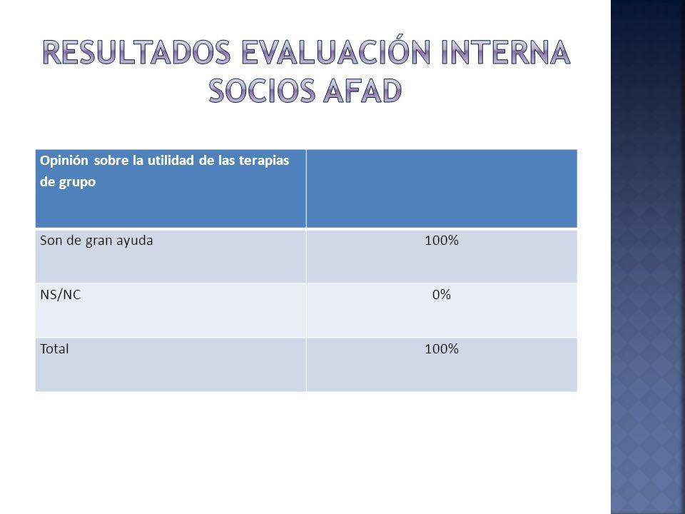 Opinión sobre la utilidad de las terapias de grupo Son de gran ayuda100% NS/NC0% Total100%