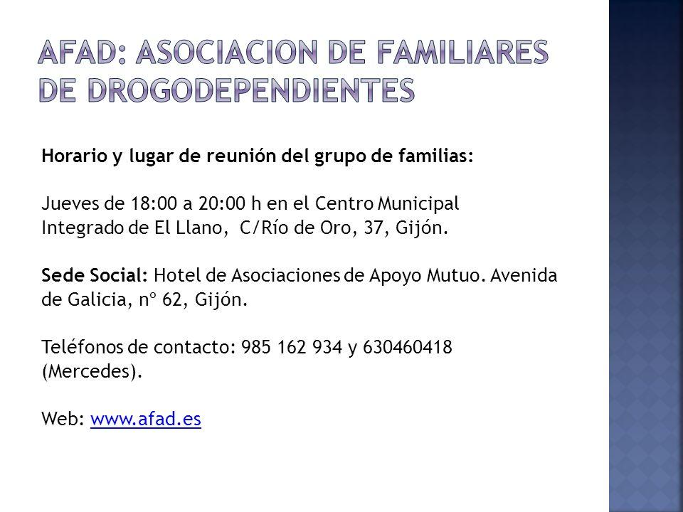 Horario y lugar de reunión del grupo de familias: Jueves de 18:00 a 20:00 h en el Centro Municipal Integrado de El Llano, C/Río de Oro, 37, Gijón. Sed