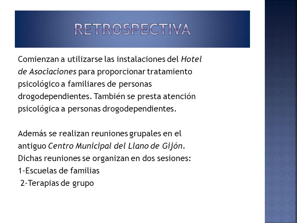 Comienzan a utilizarse las instalaciones del Hotel de Asociaciones para proporcionar tratamiento psicológico a familiares de personas drogodependiente
