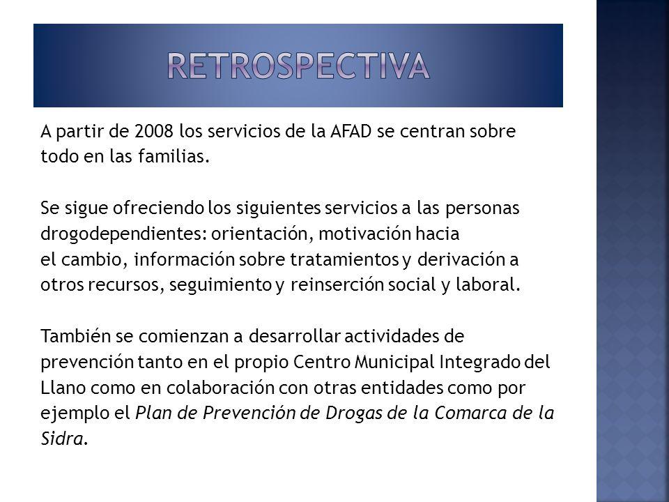 A partir de 2008 los servicios de la AFAD se centran sobre todo en las familias. Se sigue ofreciendo los siguientes servicios a las personas drogodepe
