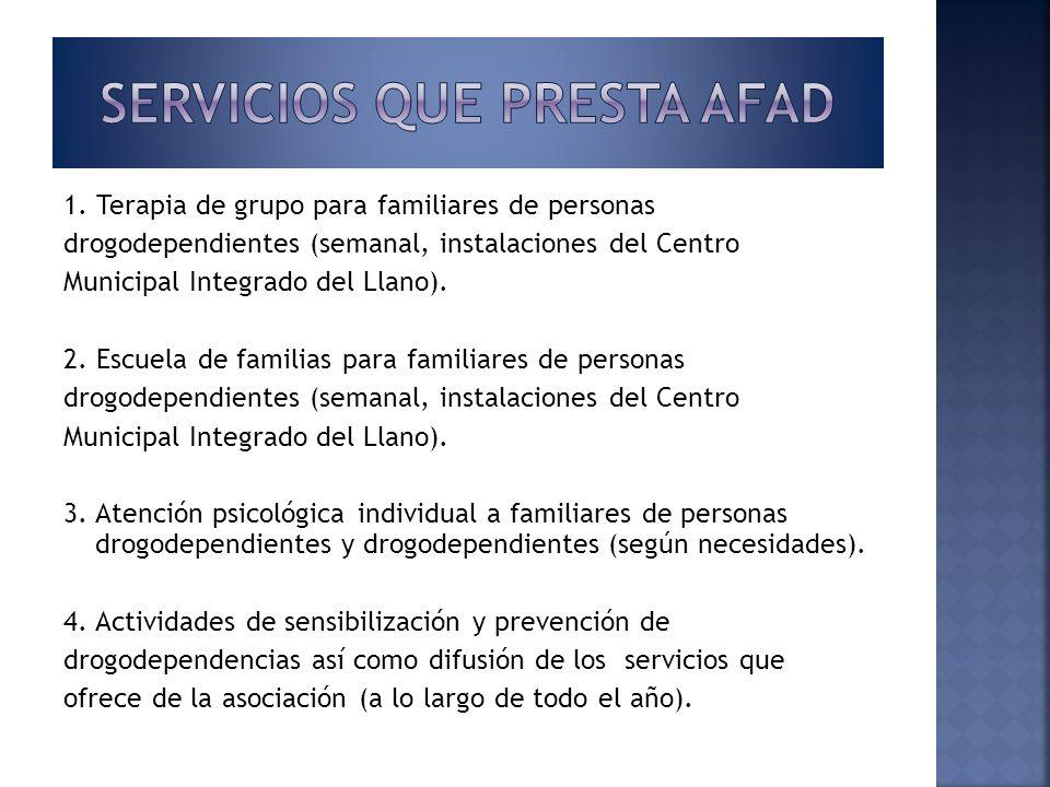 1. Terapia de grupo para familiares de personas drogodependientes (semanal, instalaciones del Centro Municipal Integrado del Llano). 2. Escuela de fam