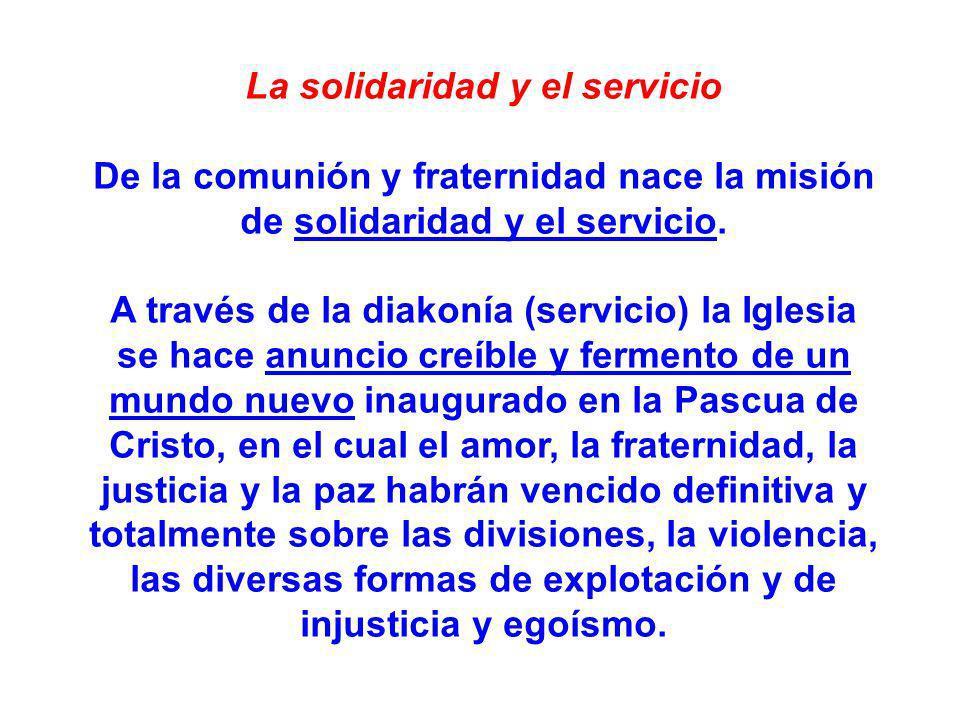 La solidaridad y el servicio De la comunión y fraternidad nace la misión de solidaridad y el servicio. A través de la diakonía (servicio) la Iglesia s