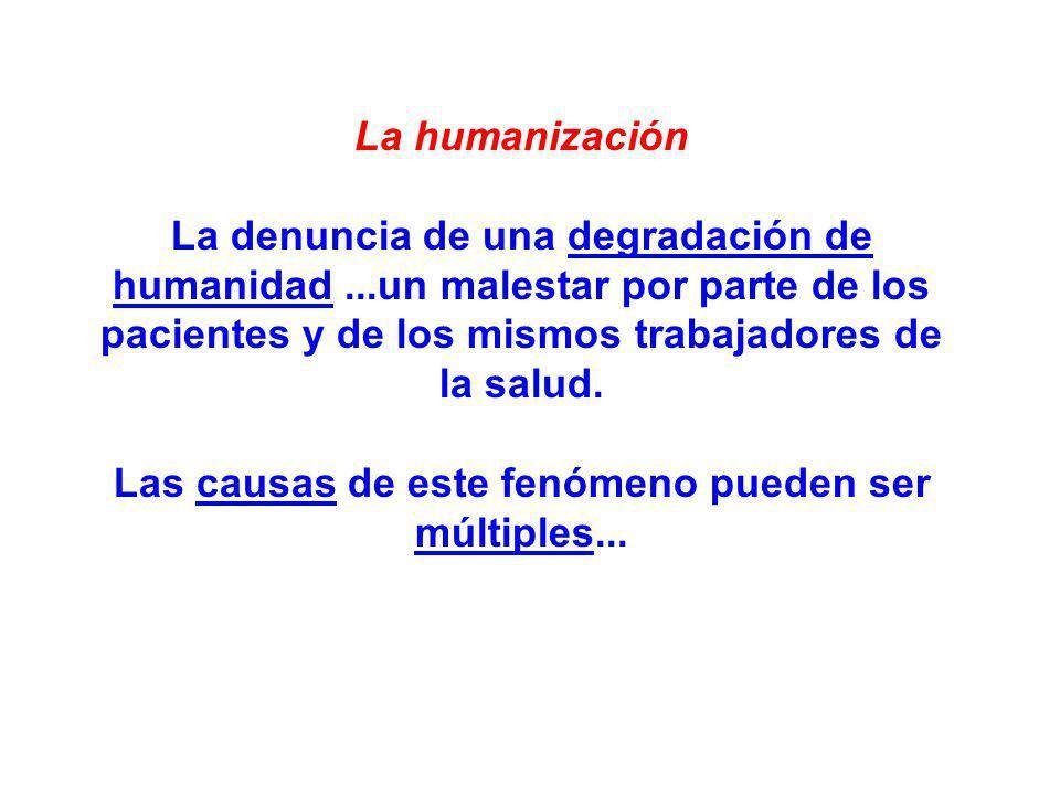 La humanización La denuncia de una degradación de humanidad...un malestar por parte de los pacientes y de los mismos trabajadores de la salud. Las cau
